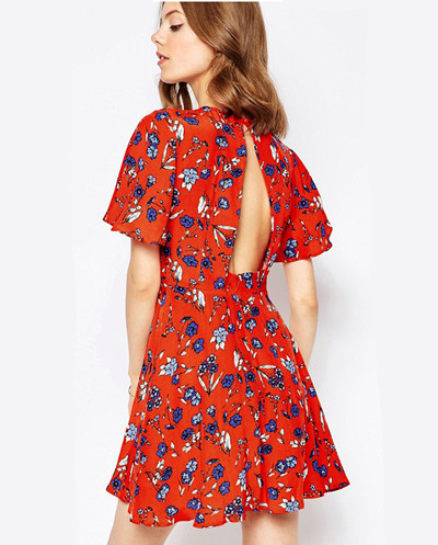 Flower chiffon dress F117